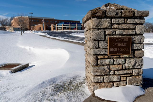 Snow covers Covington Catholic High School in Park Kills, Ky., Sunday, Jan 20, 2019. A diocese in Kentucky has apologized after videos emerged showing students from the Catholic boys