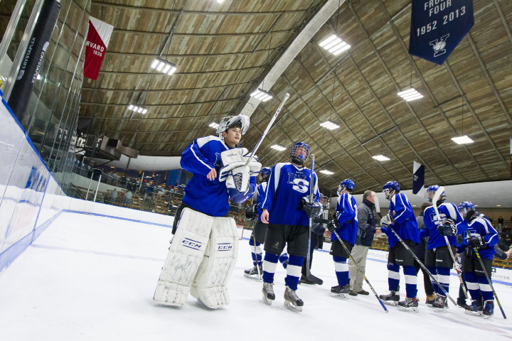 It was a season of wild ups and downs for goalie Zach Monti and the Hall-Southington hockey team. At the end of the line, the Warrior-Knights were playing their best hockey. For the first time as a co-op program, Hall-Southington reached a state final. The Warrior-Knights, the sixth seed in Division III, fell 7-3 to No. 1 Woodstock Academy on Saturday at Ingalls Rink. | Justin Weekes, Special to the Record-Journal