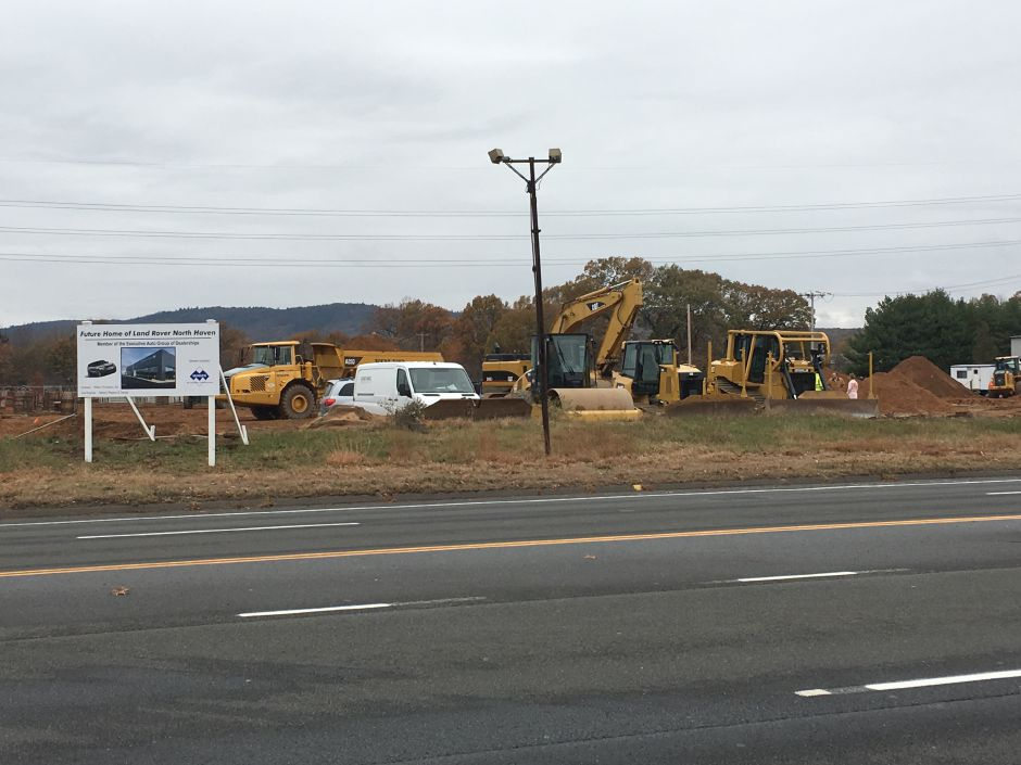 Construction starts of a new Land Rover dealership and service center on Washington Avenue, Nov. 14, 2017. The state-of-the-art dealership positions Gateway Community College automotive students for local jobs. | Lauren Takores, Record-Journal