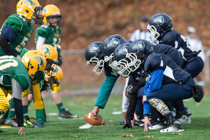 The Meriden Raiders, right, line up against the Pelham Razorbacks Sunday. The undefeated Meriden Raiders 10U football team handily beat the Pelham Razorbacks of New Hampshire to clinch the New England regional championship and earn a trip to the Florida nationals. | Justin Weekes, for the Record-Journal