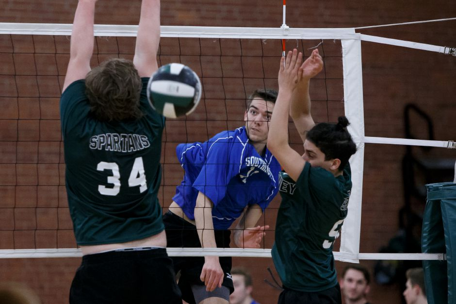 Tim Walsh and the Southington boys volleyball team notched their 11th straight victory with a 3-0 victory Friday night in South Windsor. | Justin Weekes / Special to the Record-Journal