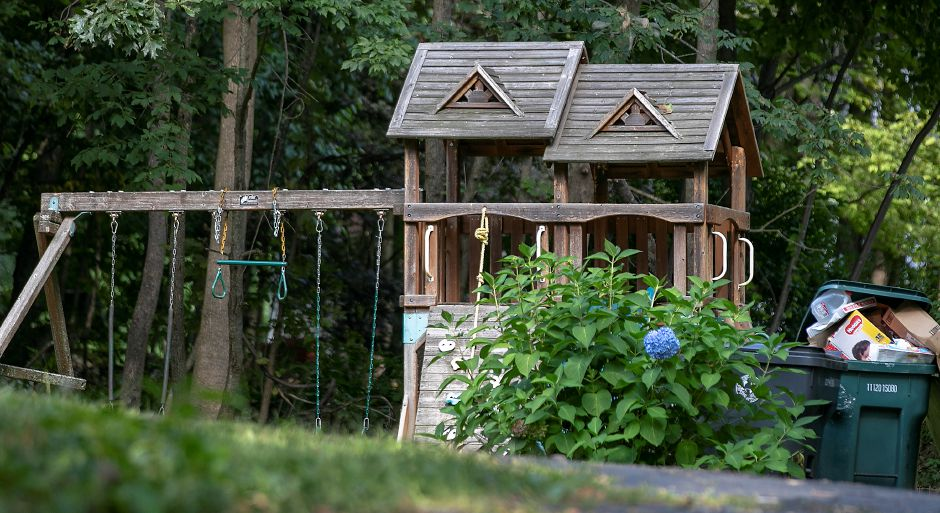 A playscape in the backyard of 780 Mountain Rd., Cheshire, Fri., Sept. 13, 2019. Police charged Emanual Dominguez-VillaGomez, 31, of 780 Mountain Road, with first-degree assault, risk of injury, reckless endangerment, and unlawful restraint for his alleged role in a domestic assault Wednesday evening. Dave Zajac, Record-Journal