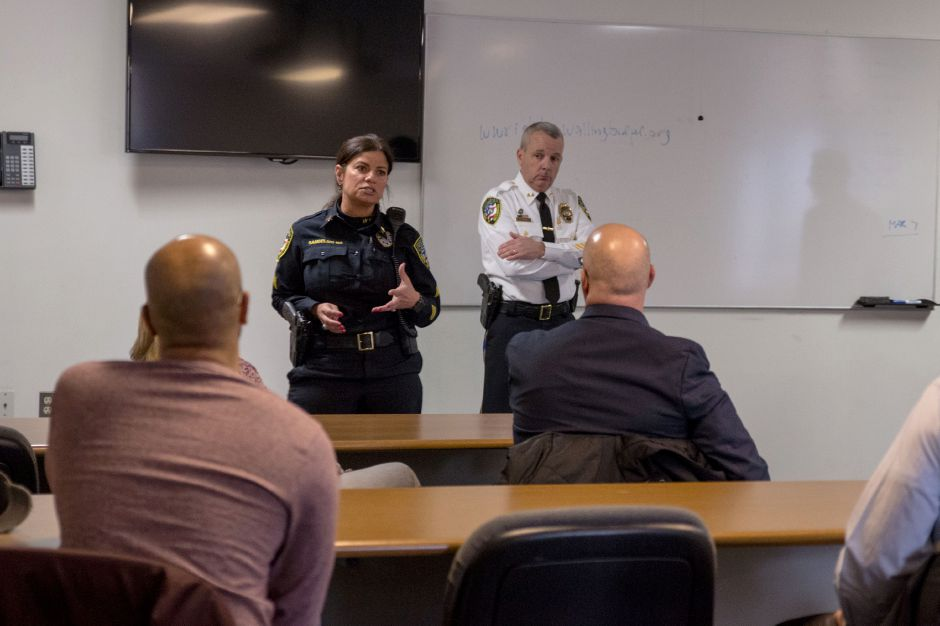 Wallingford Police Sergeant Shelly Samselski addresses parents at a meeting regarding an inappropriate message left on a Sheehan High School whiteboard. The meeting was held at the police department headquarters on March 23, 2018. | Devin Leith-Yessian/Record-Journal