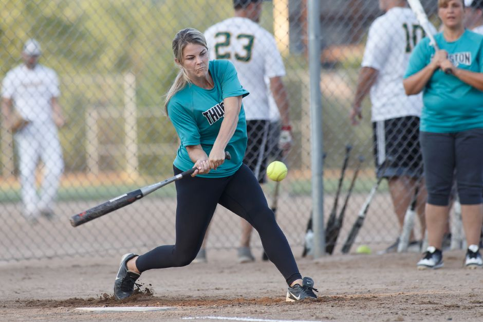 Megan Jakiela and Thurston Foods of Meriden will be back to defend their women's title at Tri-Town Softball Tournament on Friday night at Ben Nessing Field in Meriden. The event pits the men's and women's slow-pitch softball champions from Meriden, Wallingford and Southington. Action starts at 6:15 p.m. | Justin Weekes / Special to the Record-Journal