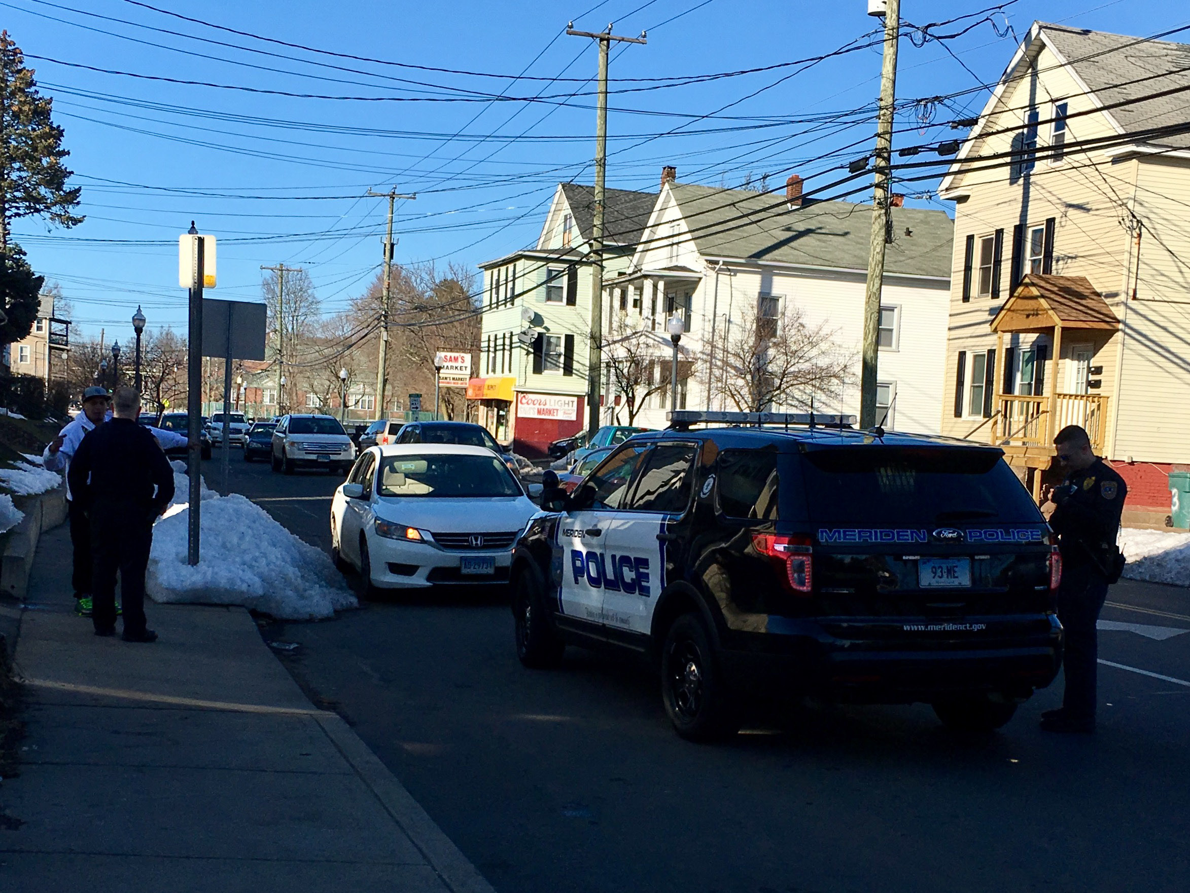 Police respond to an incident on Lewis Avenue that was initially reported as a pedestrian struck on Thursday, March 23, 2017. | Lauren Takores, Record-Journal staff
