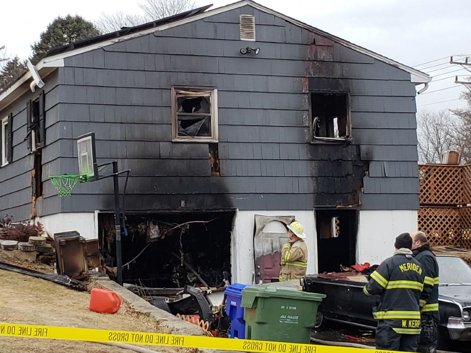 Monday morning's fire on Side Hill Road in Meriden. | Lauren Sellew, Record-Journal
