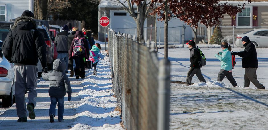 Students are dismissed early at Hanover Elementary School in Meriden, Tuesday, Jan. 2, 2018. Dave Zajac, Record-Journal