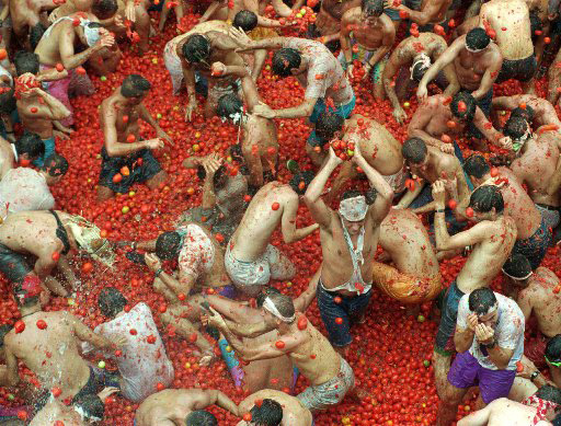 "Crowds of people gather tomatoes to throw at each other during the annual ""tomatina"" tomato fight fiesta in the village of Bunol 50 kilometres outside Valencia Wednesday August 30, 1995. Twenty thousand people took part in this year"