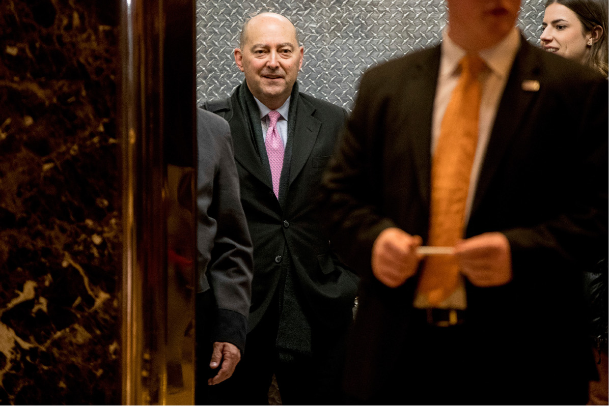 Tuffs University Fletcher School of Law and Diplomacy Dean James Stavridis is seen on an elavator at Trump Tower in New York, Thursday, Dec. 8, 2016. (AP Photo/Andrew Harnik)