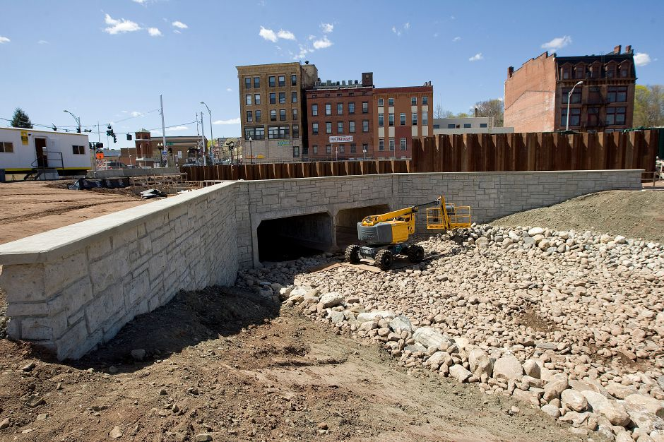 The two new Harbor Brook culverts located in the southwest corner of the 14-acre Meriden Hub site in downtown Meriden, Wednesday, April 29, 2015. | Dave Zajac / Record-Journal