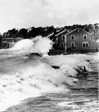 Hundreds of summer cottages were destroyed when high winds and water caused by the hurricane smashed into the Connecticut shores in Old Lyme, Connecticut on Tuesday, August 31, 1954. This is a typical scene, it shows cottages at Point Woods Beach taking the worst the Long Island Sound had to offer. (AP Photo)