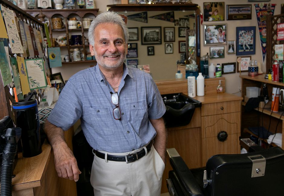"Barber Prisco ""Pic"" DeLuca, owner of Haircraft Hair Salon, 1259 E. Main St. Meriden, Fri., June 28, 2019. DeLuca is retiring and closing the business after cutting hair for 46 years.   Dave Zajac, Record-Journal"