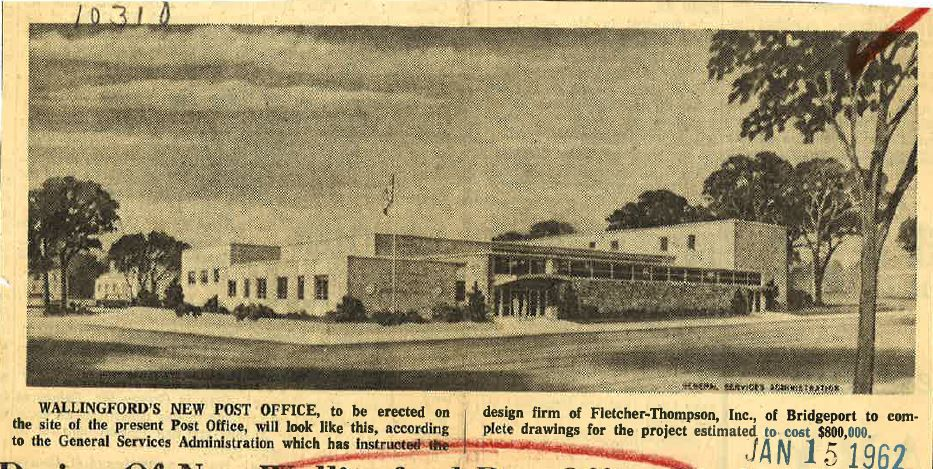 A drawing of Wallingford's new post office, from Janary 1962, two years before the building opened on the corner of Center and Main Streets.