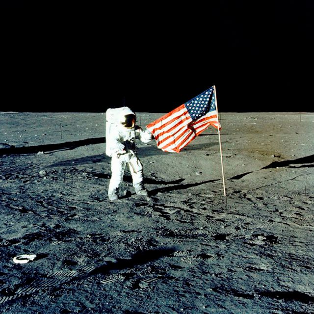 "FILE - In this Nov. 1969 photo made available by NASA, Apollo 12 mission Commander Charles P. ""Pete"" Conrad stands on the moon"