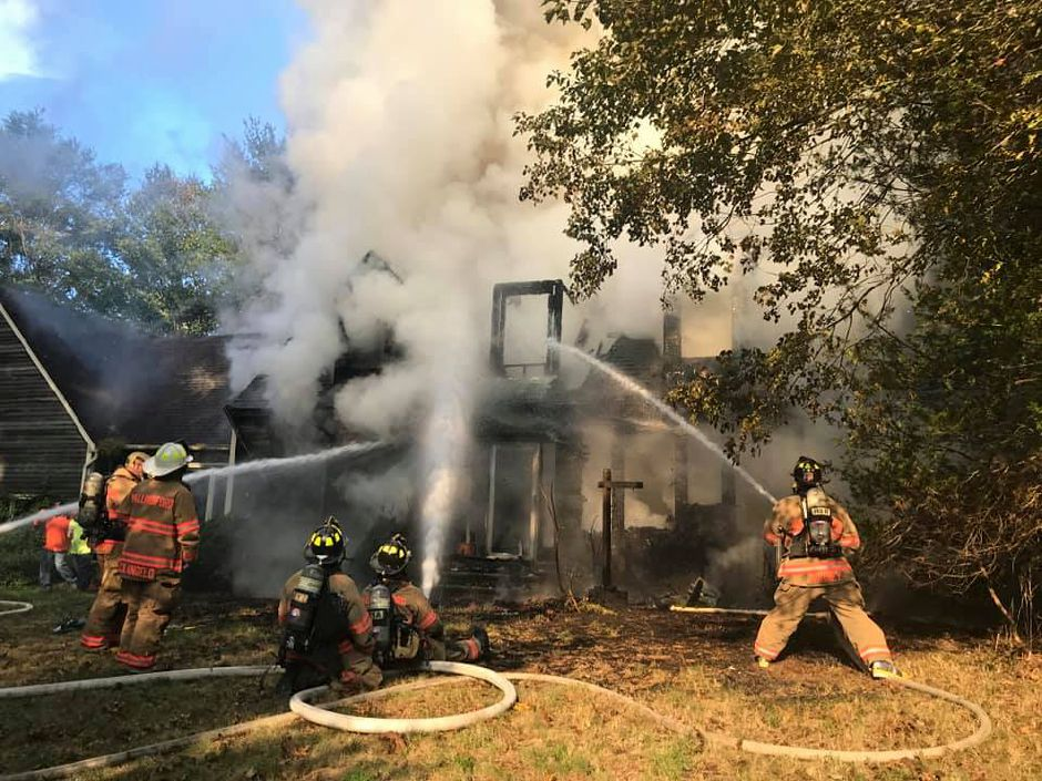 Firefighters battle a blaze that destroyed a home 35 Twin Oak Farm Road on Tuesday. Wallingford. |Courtesy of Wallingford FD