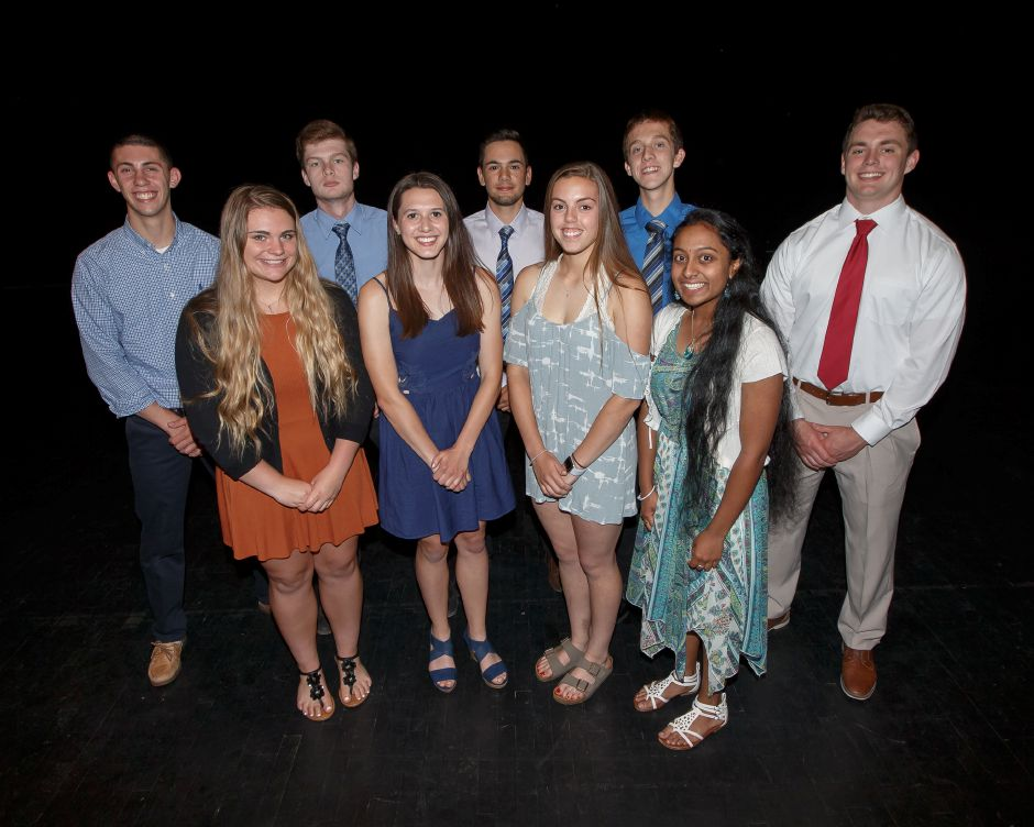 Introducing Sheehan's Record-Journal Scholar-Athletes for the spring season. The girls in front are, from left, Madison Neilander, Christine Thorp, Samantha Iannone and Srivani Agnihotram. The boys in back are, from left, Mark Amodio, Patrick Christensen, Julian Nirmal, Stephen Fengler and William Terzi. Justin Weekes, special to the Record-Journal