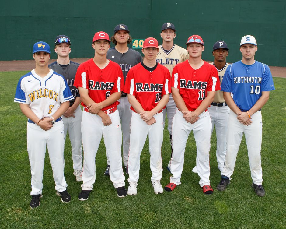 Introducing the 2018 All Record-Journal Baseball Team. Flanking the three Cheshire players in the front row are, on the left, Wilcox Tech