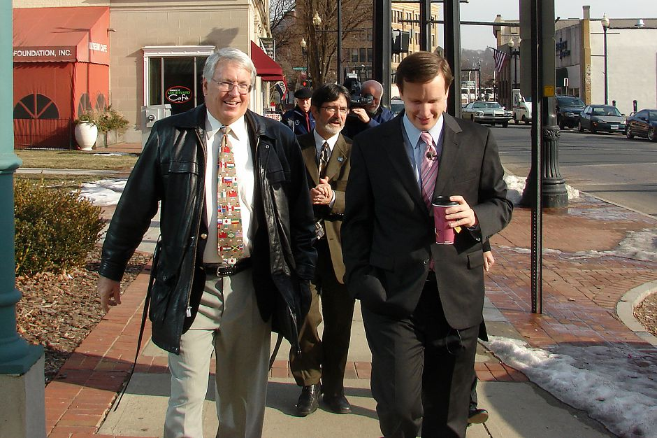 Record Journal Photo/ Jesse Buchanan 3.08.09 - MERIDEN - Mayor Michael S. Rhode, left, Greater Meriden Chamber of Commerce Director Sean Moore, center, and Congressman Chris Murphy (D-5), right, walk through the city