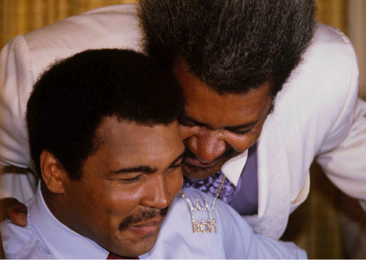 Muhammad Ali, left, and boxing promoter Don King are seen during a news conference in New York, July 16, 1980. (AP Photo/Dave Pickoff)