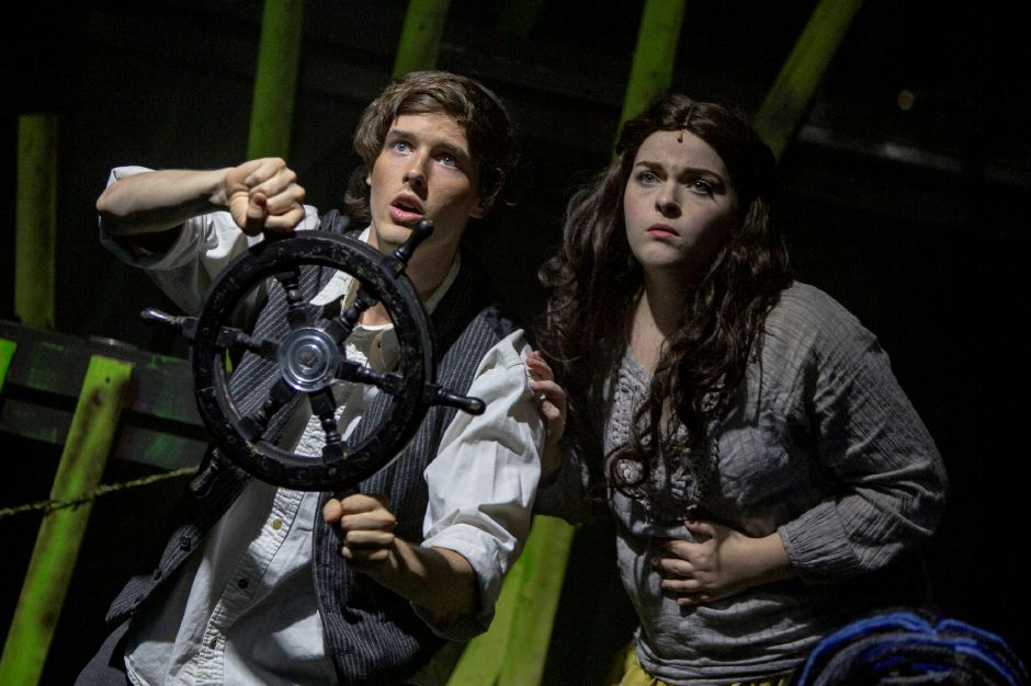 Robert Faulhaber, left, and Kaity Marzik navigate the waters during the opening of Tarzan at the Square Foot Theatre in Wallingford Aug. 7, 2019. | Richie Rathsack, Record-Journal
