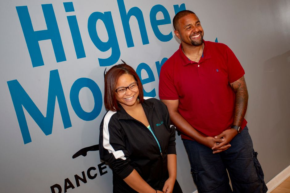 "Chloie McMahon, Higher Movement dancing instructor, and Meriden Police Officer Joseph Stoute talk about their routine for ""Dancing with the Stars of Meriden,"" which raises money for Seniors Have Dreams, Too, an organization that grants wishes to senior citizens. 