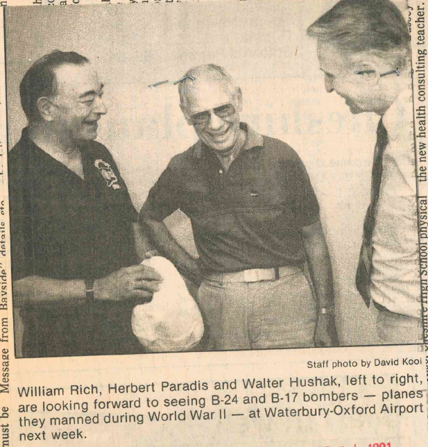 William Rich, Herbert Paradis and Walter Hushak, left to right, in the fall of 1991.