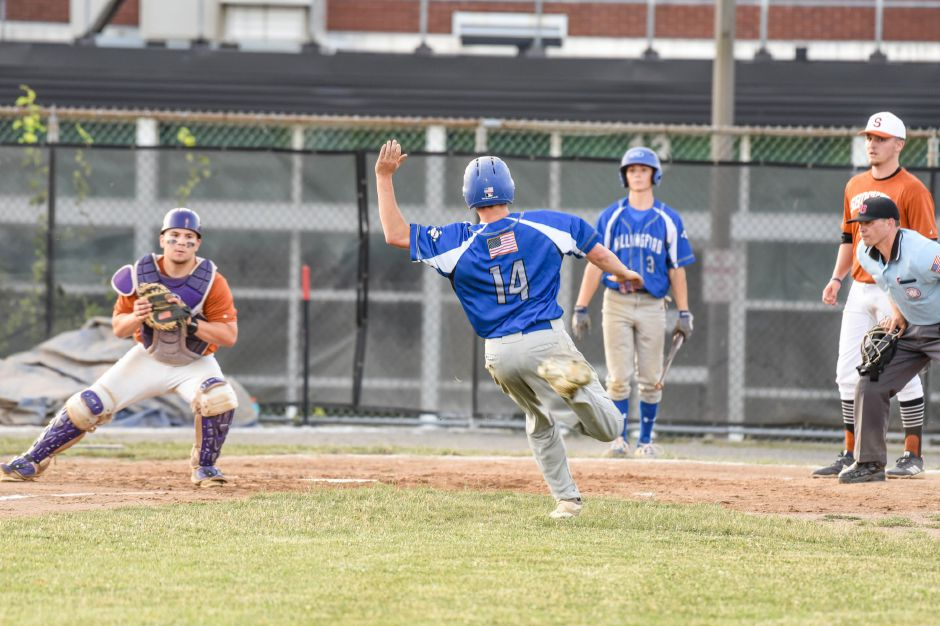 Will Fritz gets caught at home against the Southington Shockers at Fontana field on Tuesday night. | Jim McGovern, special to the Record-Journal