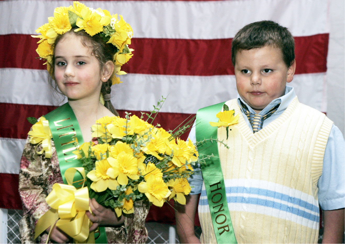 Little Miss Daffodil Mae Lancaster, of Hanover School, and her Honor Escort Daniel Barillaro, of Nathan Hale School, Wed. night, April 27 in Hubbard Park.