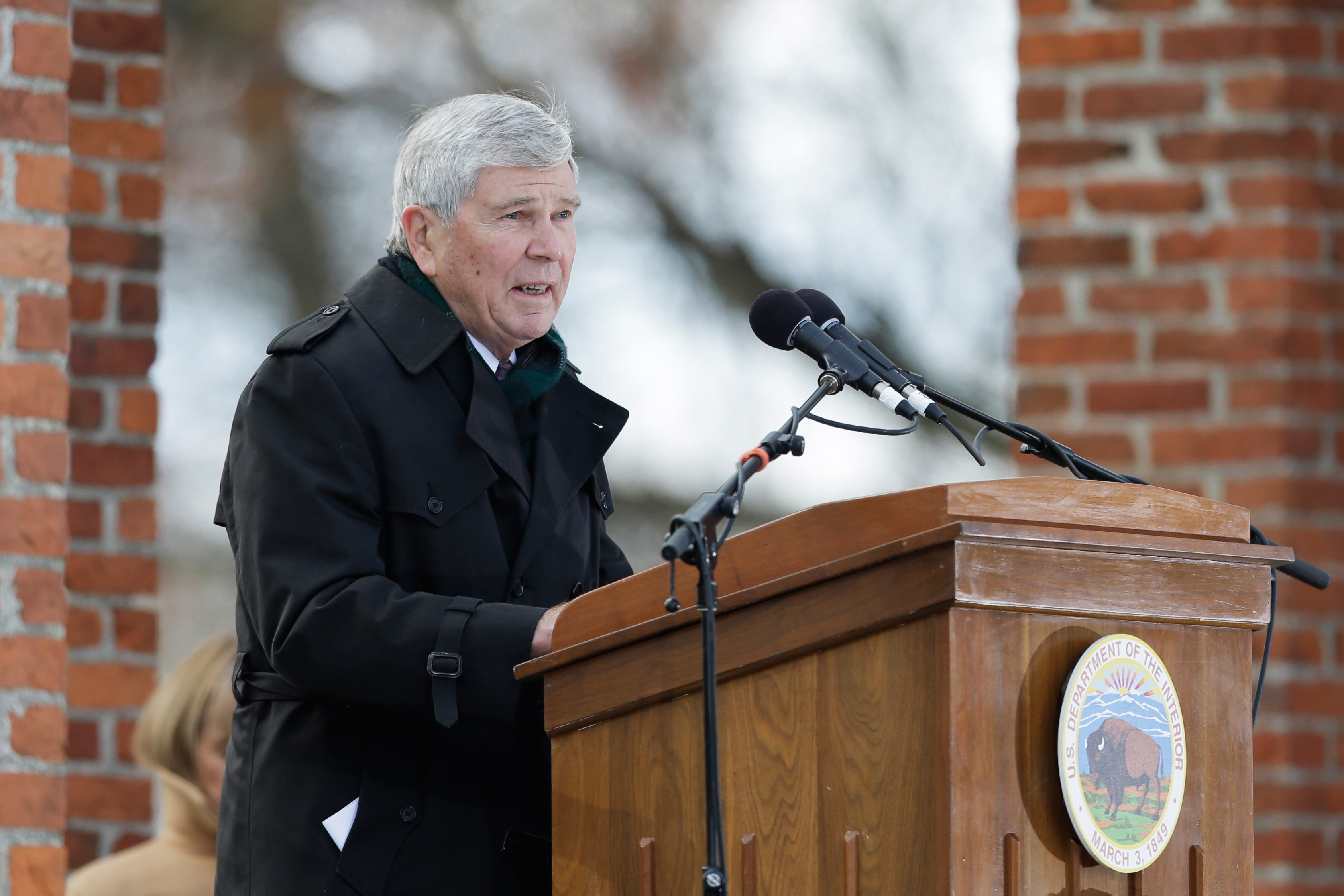 Historian James McPherson speaks during a ceremony commemorating the 150th anniversary of the dedication of the Soldiers National Cemetery and President Abraham Lincoln