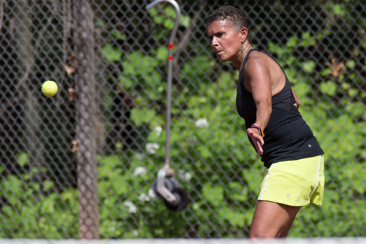 Ivelisse Piker in the mixed B doubles final Sunday during the Wink Filipek Sr. Memorial Tennis tournament at Copper Valley Swim and Tennis Club in Cheshire Jun. 11, 2017 | Justin Weekes / For the Record-Journal