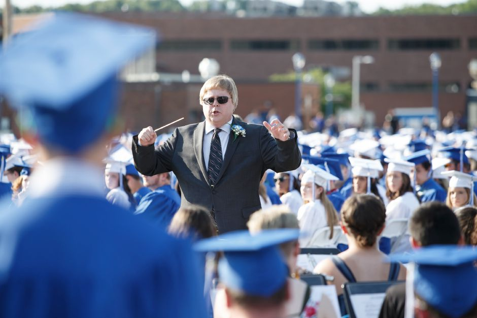 Jeff Shaw conducts the musical selection Thursday during Southington High School Graduation ceremonies at Southington High School in Southington June 21, 2018 | Justin Weekes / Special to the Record-Journal