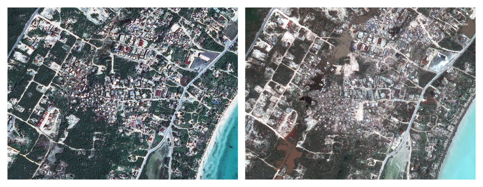 This combination of satellite images provided by DigitalGlobe shows Providenciales, in Turks and Caicos Islands on Jan 1, 2016, and Sunday, Sept. 10, 2017, after Hurricane Irma. Irma cut a path of devastation across the northern Caribbean, leaving thousands homeless after destroying buildings and uprooting trees. (DigitalGlobe via AP)