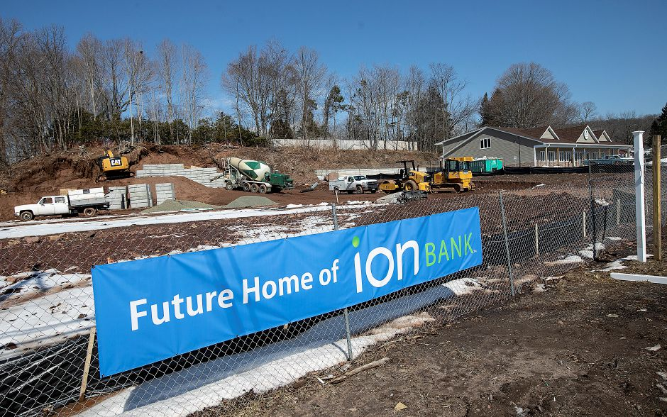 Construction vehicles work on the future site of Ion Bank, 1336 E. Main St., Meriden, Mon., Mar. 11, 2019. Dave Zajac, Record-Journal