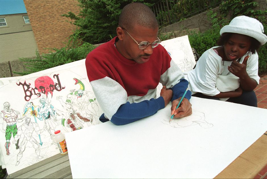 John Ward sketches the outline for one of his caricatures while sitting at the Meriden Hub with his wife Vanessa Ward July 13, 1999. Both were biding their time Tuesday morning as they waited for the public library to open.