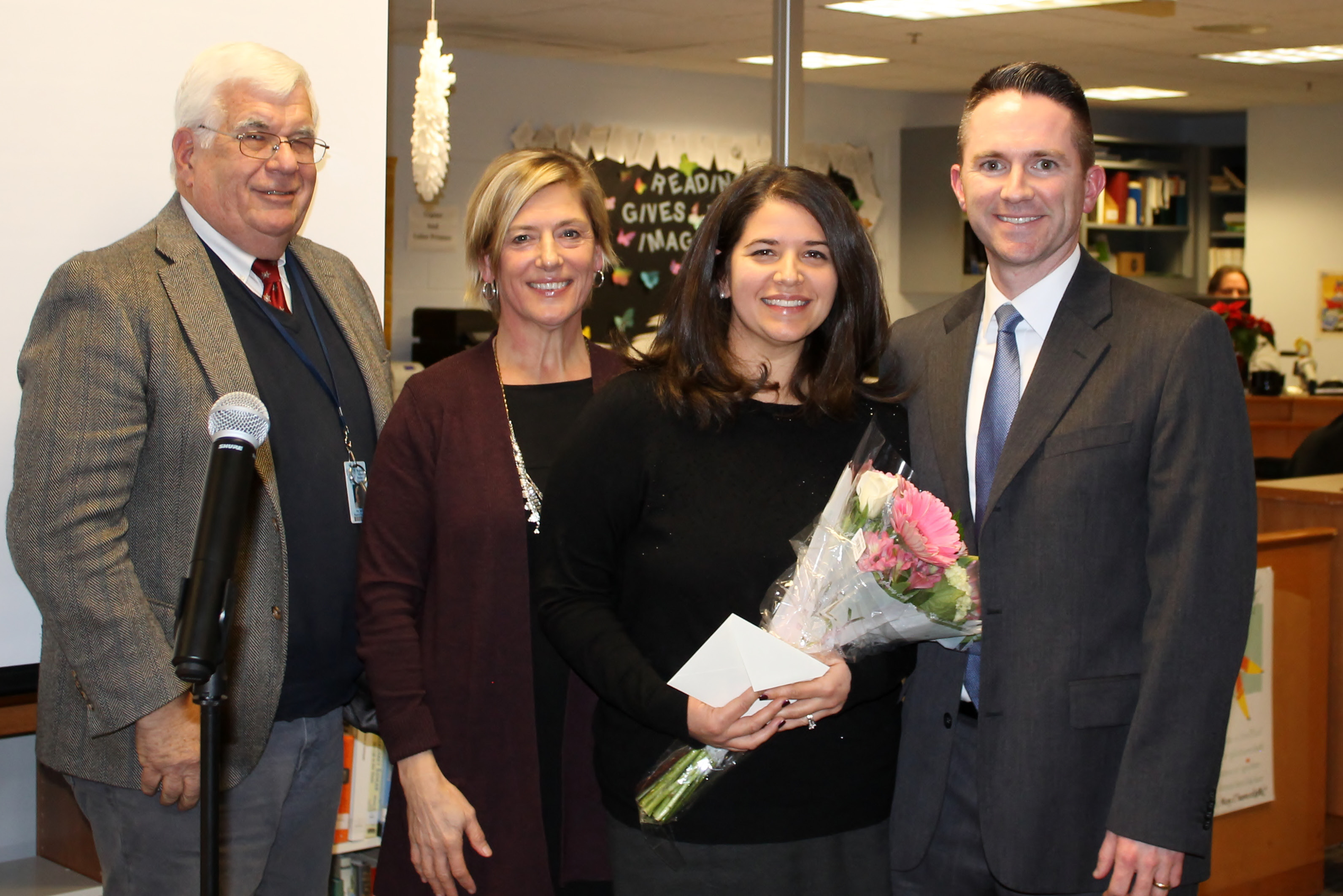 Recognizing RSD13 Teacher of the Year Valerie Swiantek (third from left) are Board of Education Chair Bob Moore, Superintendent Kathryn Veronesi and Lyman Principal Tom Ford.