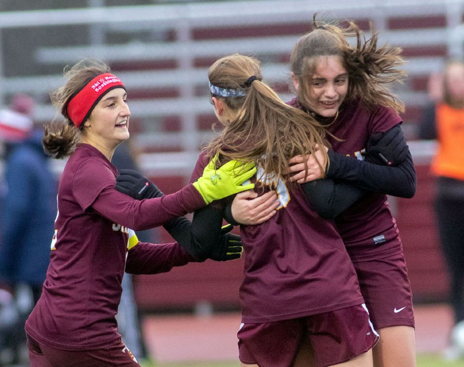 With a 1-0 second-round victory over No. 9 Killingly at Riccitelli Field on Thursday, Marley Esch, Lexi Carim, Sydney Cuticelli and the No. 8 Sheehan girls soccer team has a Class L state quarterfinal date with No. 1 RHAM in Hebron on Saturday. Esch scored the goal against Killingly. Aaron Flaum, Record-Journal
