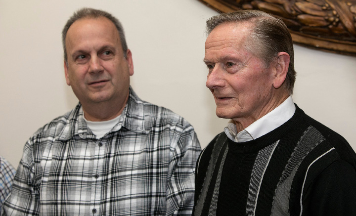 Elks members Dan Michalak, left, and Robert Kosienski, Sr., talk about Elks Club membership while at Meriden City Hall, Tuesday, February 28, 2017. | Dave Zajac, Record-Journal