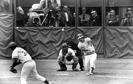Oakland Athletics Sal Bando slams a double to center field in the sixth inning to score teammate Allan Lewis and the winning run in the final game of World Series against Cincinnati Reds in Cincinnati, Ohio, Sunday, Oct. 22, 1972. The A