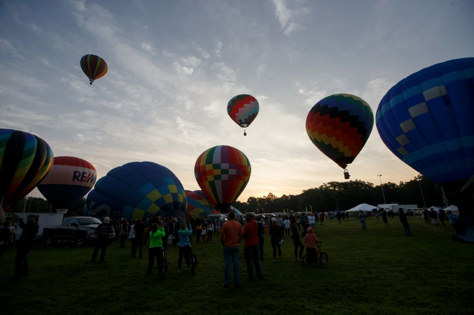 Balloons take flight on launch day Saturday during the 34th annual Plainville Balloon Festival at Norton Park in Plainville. Photos by Justin Weekes, Special to the Record-Journal