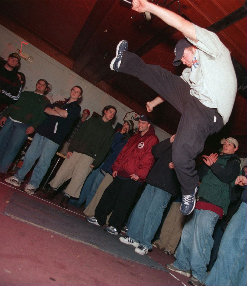 RJ file photo - Anthony Giordano from New Jersey dances at the hardcore show at the Hanover House in Meriden, Jan. 1999.
