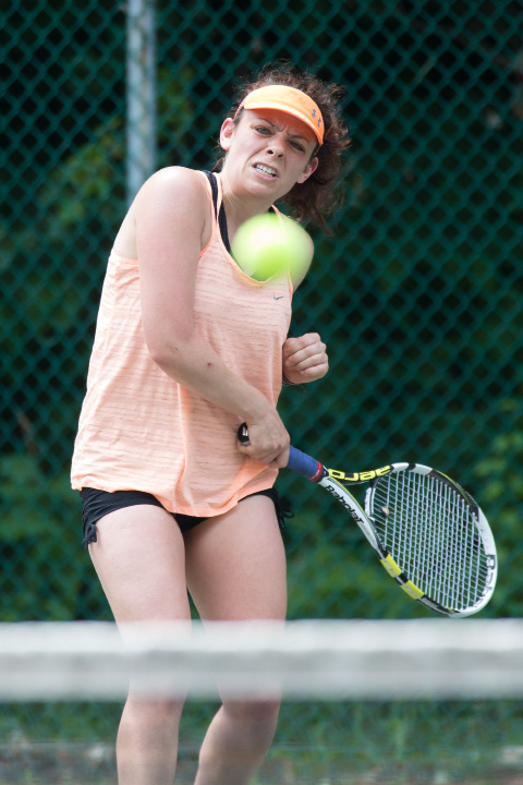 Julie Condit in the womens A singles final Sunday during the Wink Filipek Sr. Memorial Tennis tournament at Copper Valley Swim and Tennis Club in Cheshire Jun. 11, 2017 | Justin Weekes / For the Record-Journal