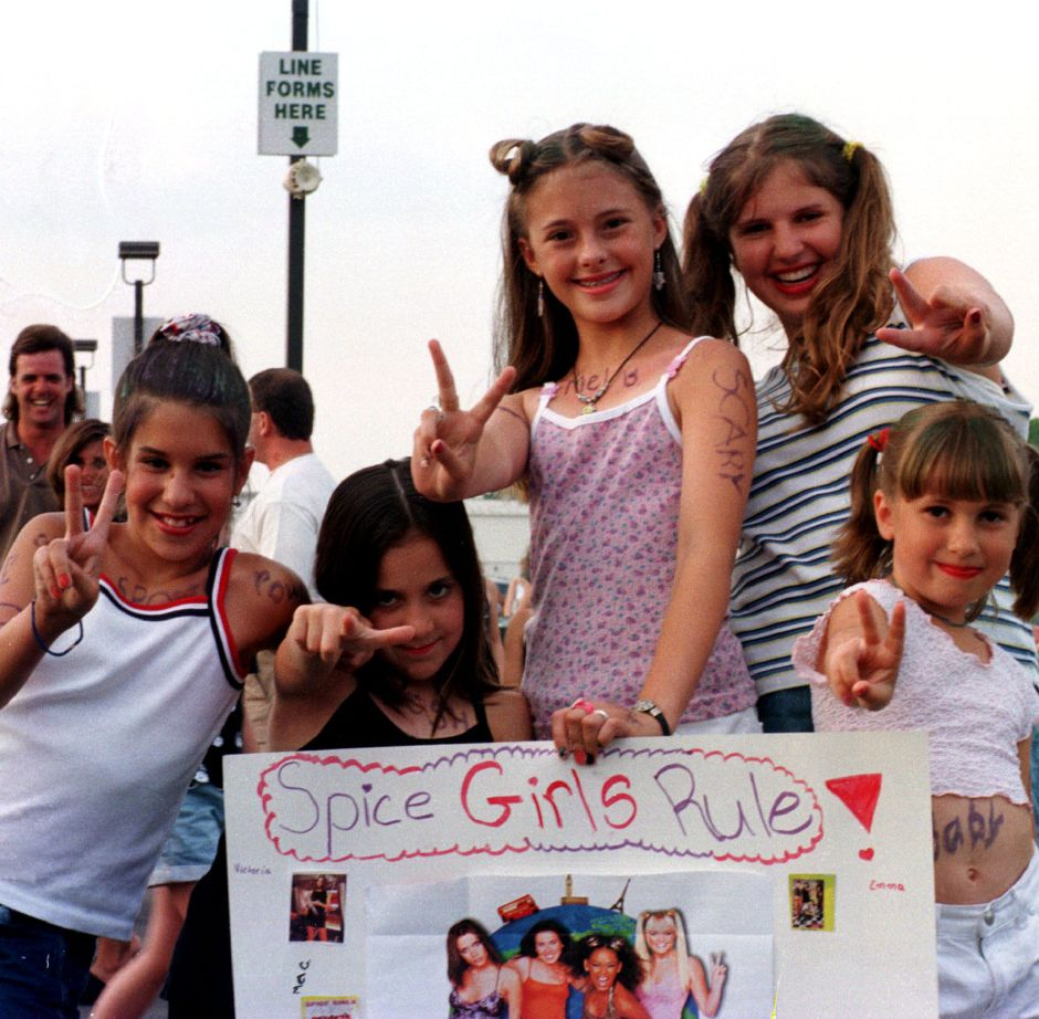 RJ file photo - Eric Shaw, 10, Janelle Derella, 9, Mary Waszkelewicz, 12, Cheslea Mehr, 11, and Jillian Mehr, 7, at the Spice Girls concert at the Meadows Music Theatre in Hartford JUly 3, 1998.