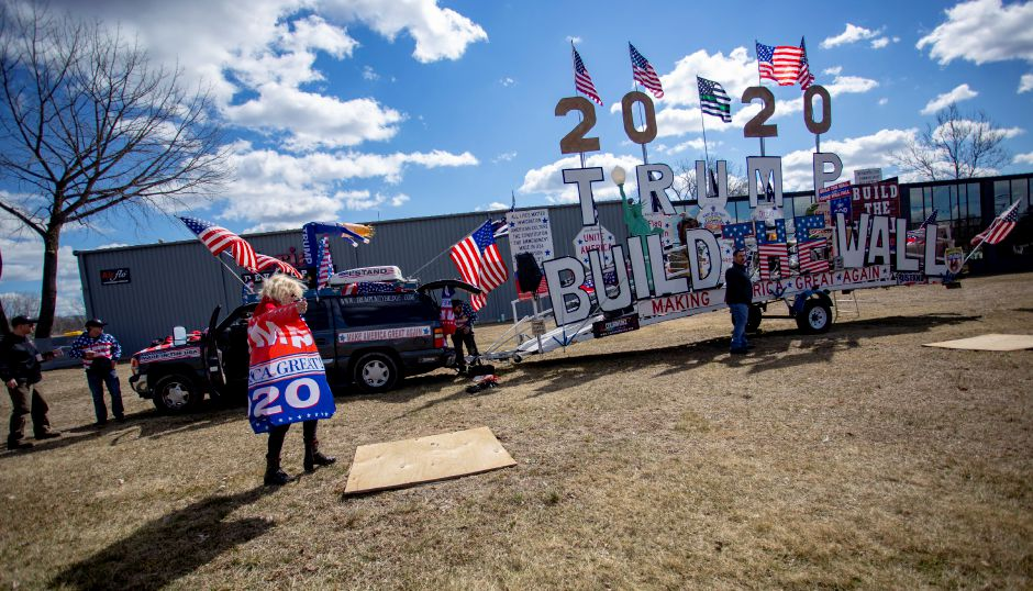 The Trump Unity Bridge travelling display visited Cariati Developers Monday. Robert Cortis, of Michigan, is taking the display across the country. Richie Rathsack, Record-Journal