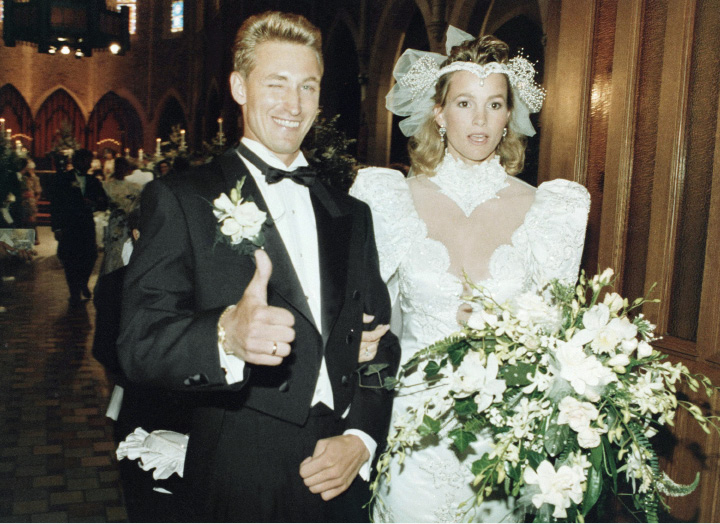 Janet and Wayne Gretzky arrive at the back of St. Joseph