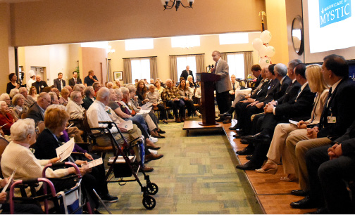 Joseph Mastronunzio , president of Brom Builders speaks at the grand opening and ribbon cutting at Masonicare At Mystic on Tuesday, April 25th, 2017.   | Christine Corrigan, The Westerly Sun