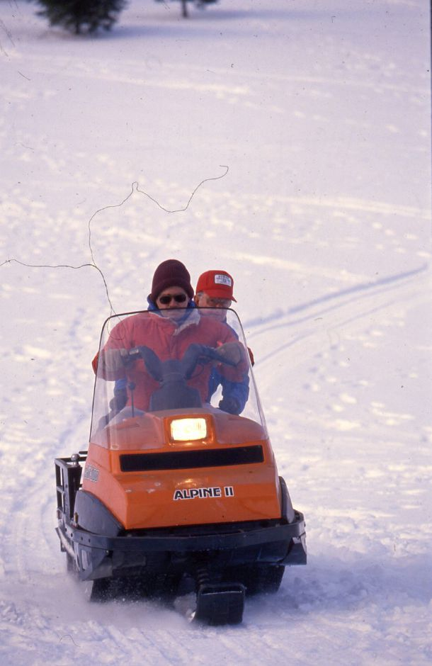 RJ file photo - Meriden Parks and Rec employees Ken Parkin and Mike Wyskiewicz groom a cross-country ski trail at Hunter Golf Course Jan. 5, 1994.