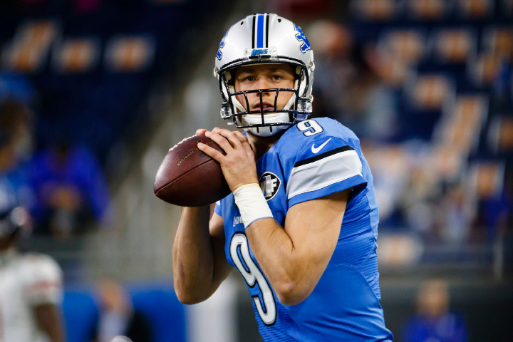 FILE - In this Sunday, Dec. 11, 2016 file photo, Detroit Lions quarterback Matthew Stafford (9) warm ups prior to an NFL football game against the Chicago Bears at Ford Field in Detroit. The Lions are riding a five-game winning streak that has given them a two-game lead over Minnesota and Green Bay in the NFC North. The Giants are two games behind Dallas (11-2) in the NFC East but they hold a one-game lead in the wildcard race after winning seven of eight. The Lions play the New York Giants on Sunday, Dec. 18, 2016. (AP Photo/Rick Osentoski, File)