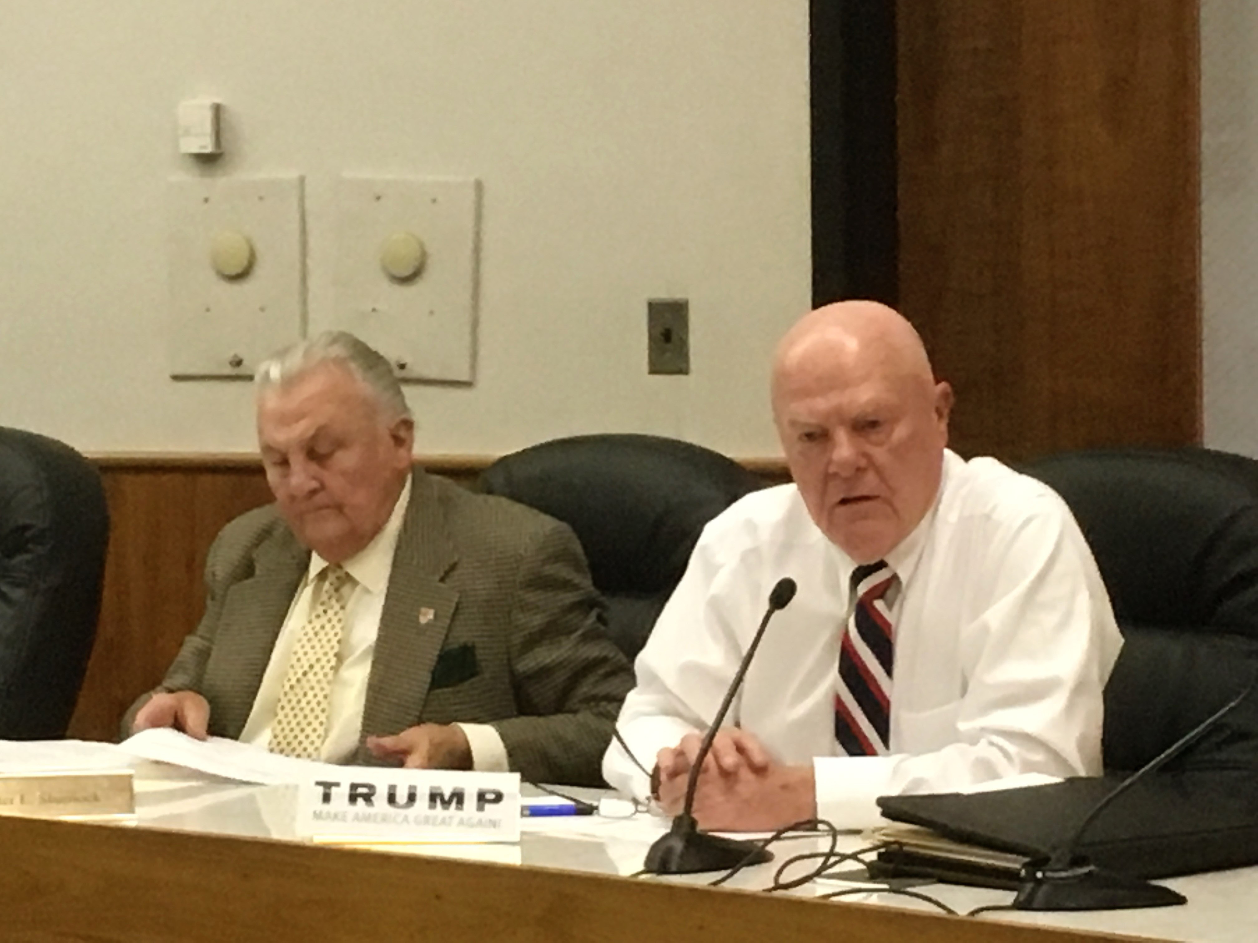 City Councilor Lenny Rich, right, displayed his support for President-elect Donald Trump during Monday's City Council meeting. | Leigh Tauss, Record-Journal