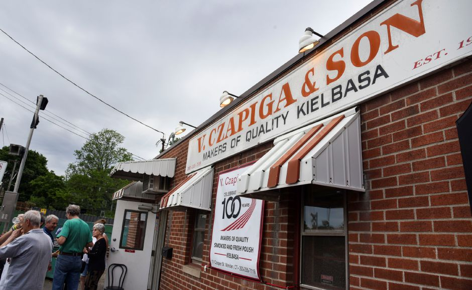 Friends, family and community leaders gather at Z. Czapiga & Son in Meriden Wednesday evening, June 20, to celebrate the store reaching 100 years in business. | Bailey Wright, Record-Journal