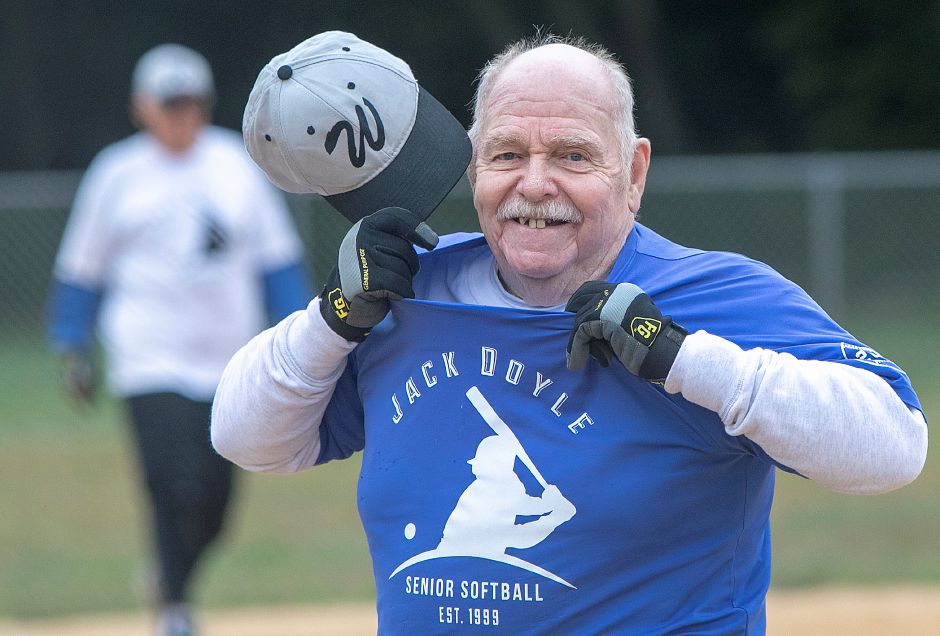 FILE – Gene McLean, 83, of Wallingford, switches his Dodgers shirt for a Classics shirt while playing for both teams during the Jack Doyle Senior Softball League playoffs at Pragemann Park in Wallingford, Monday, Sept. 24, 2018. The Classics defeated the Dodgers 13-5. Dave Zajac, Record-Journal